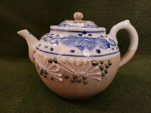 Vintage Salt Glaze & Enamel Teapot w/ Lid, Blue White Yellow & Green