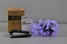 Outdoor Waterproof Solar Flower String Lights, 23ft 50 LED Lights, Purple