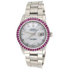 Men'S 36 мм Rolex Datejust драгоценный камень Рубин ободок часы с перламутровым циферблатом 1601 | 3.08 кар