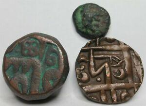 INDIA Mughal Empire Copper DAM 1600 VF+ BHUTAN 1/2 Rupee lot 3 coins #S01