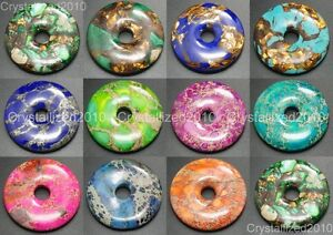 50mm Natural Gemstone Jasper Sea Sediment Bronzite Round Donut Pendant Beads
