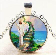 Christ Jesus Cabochon Silver/Bronze/Black/Gold Glass Chain Pendant Necklace#7146