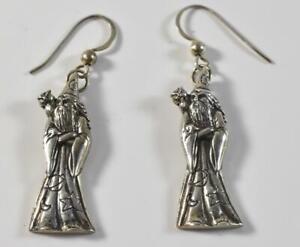 Sterling Silver Wizard Merlin Pierced Earrings 5.9 Grams