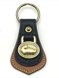 Vintage DOONEY & BOURKE Key Fob Ring Black & Brown All Weather Leather