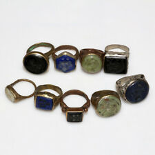 Lot Of 9 Late Medieval Near East Bronze & Silver Plated Intaclio Seal Rings