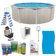 """Phoenix 21' x 52"""" Steel Frame Above Ground Swimming Pool Kit with Pump, Ladder"""