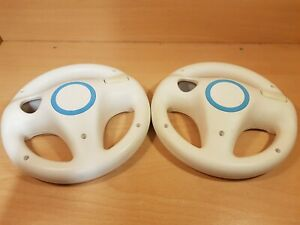 2 x Official Nintendo Wii Mario Kart / Driving Games Steering Wheels - White