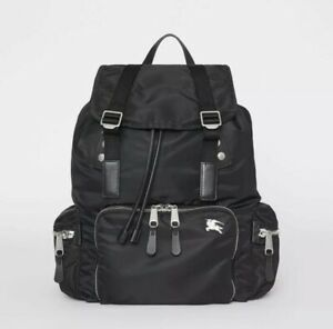 NEW Burberry Large Rucksack Aviator Nylon and Leather Backpack Black Tags