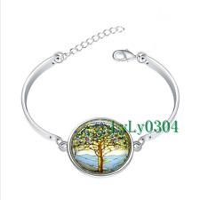 1 pcs Tree of Life glass cabochon Tibet silver bangle bracelets wholesale