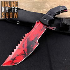 TACTICAL COMBAT HUNTSMAN KNIFE SURVIVAL HUNTING BOWIE Fixed Blade w/ SHEATH RUBY