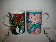 2 NEW DUNOON SCOTLAND STONEWARE BONE CHINA MUG/CUP~PINK ELEPHANTS~CATS~SIGNED