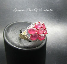 Large 9ct Gold Oval cut Ruby and Diamond Cluster Ring Size I 1/2