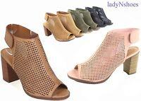 NEW Women's Sling back Peep Toe Chunky Heels Sandal Booties Shoes Size 5.5 - 11