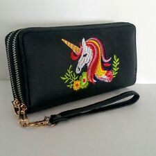Womens WALLET/CLUTCH Colorful Unicorn Print Double Zipper Large Capacity NEW
