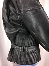 HOT LEATHER,GENUINE,MOTORCYCLE,JACKET BLACK,ZIPPERS,THINSULATE3M,LINING,SZ SMALL