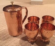 New listing New! Set of 100% Pure Copper Hammered Pitcher Jug and 4 Glasses