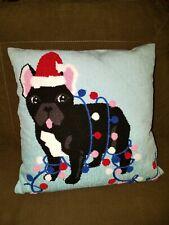 "New Boston Terrier Dog Holiday Christmas Pillow Chenille 18"" x 18"" Zipper"