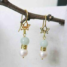 Vintage Chinese Gold Lotus Lustrous Pearl Jadeite Jade Earrings