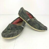 Toms Classic Canvas Slip on Shoes Green Camouflage Flats Size Womens W9