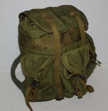 "Vintage 20x20"" Olive Green Swiss Army Military Backpack Rucksack Hiking Pockets"