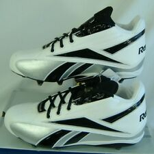 New Mens 14 Reebok Thorpe Mid D NFL Cleats Shoes Football White Black Silver