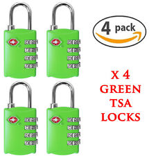 4 X GREEN SECURITY 4 COMBINATION TRAVEL SUITCASE LUGGAGE BAG CODE LOCK PADLOCK