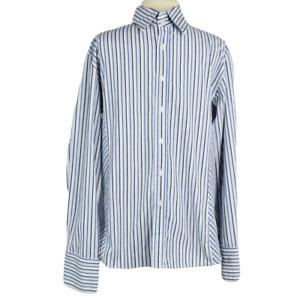 7 Diamonds Mens L Shirt Classic Cotton Blend Striped Button Front LS Blue White