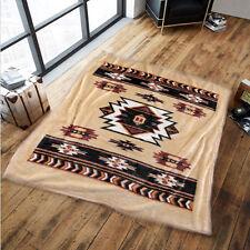 große sehr dicke superweiche Plüschdecke Kuscheldecke Indianer-Muster 155x215cm