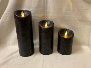 "3 Luminara Black 5"" ~ 7"" ~ 9"" x 3"" w/ Remote Candles Coconut Scent"
