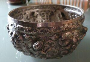 Vintage Sterling Silver Repousse Bowl Vessel Thailand Siam
