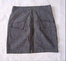 YAYA Nome de Plume Linen Chambray Exposed Front Zipper Mini Skirt Size M Juniors