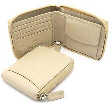 Bifold Beige Genuine Leather Scale Texture Zip-Around Wallet w/ Outer Pocket