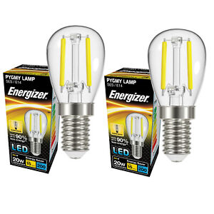 2x Energizer 2w =20w LED Clear Pygmy Bulb Warm White Small Edison Screw E14 SES