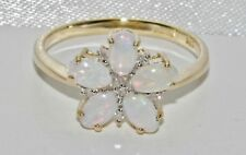 9ct Gold Natural Opal & Diamond Ladies Flower Cluster Ring size N