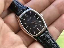 Vintage ROLEX Cellini 18K White Gold RARE Dark Blue Dial Manual Ladies Watch