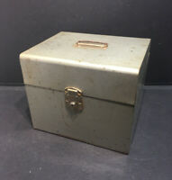 "Vintage Large Grey Enamel Metal Storage Tool Box 12"" X 10"" X 10"""