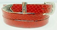 NEW HATBAND RED SNAKE Genuine Exotic SKIN w/ Silver Buckle Set Western Hat Band