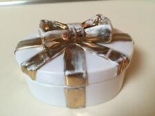 Vintage Porcelain Trinket Gift Box Oval White Ivory with Gold Bow Lid