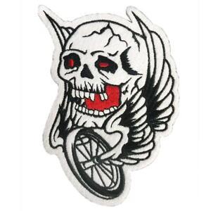 Lethal Threat Sang Yeux Tête de Mort Ailes Roue Moto Motard Punk Patch VS13025