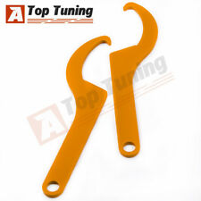 2x Steel Adjustable Sleeve Coilover Spanner Wrench Golden Color