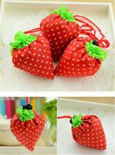 Practical Shopping Strawberry Reusable Nylon Folding Grocery Tote Shopper Bag LA