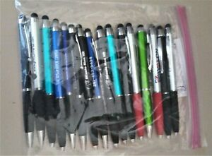 Lot of  6 MISPRINT METAL INK PENS >Silvertone Clip-on >Assorted Barrell >NEW!