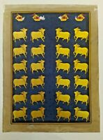 Holy cows Miniature Painting Real gold Hilkari Indian Art Work Hand Painted Fine