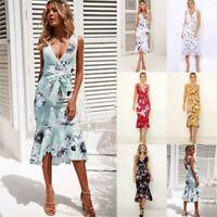 Casual Cocktail beach Loose summer Dress V Neck Long Fashion Evening Women Maxi