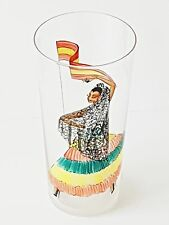 VERRE CRISTAL 1950 VINTAGE DECOR MAIN ESPAGNE SPAIN FLAMENCO HAND PAINTED GLASS