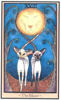 SIAMESE CAT TAROT CARD THE MOON PRINT FROM ORIGINAL PAINTING BY SUZANNE LE GOOD