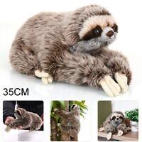 35cm Cute Three Toed Lifelike Plush Sloth Lying Doll Critters Stuffed Toy Animal