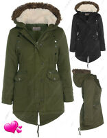NEW GIRLS FUR PARKA COAT Padded HOODED JACKET SCHOOL AGE 7 8 9 10 11 12 13