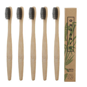 10Pcs Bamboo Toothbrush Wood Handle Soft Bristles Tooth Brushes Adult Oral Care