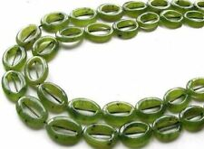 2 Picture Frame Nephrite Jade 18x13mm Oval Beads 009387
